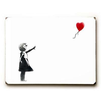 "9 in. x 12 in. ""Girl Chasing Heart"" by Banksy Solid Wood Wall Art"