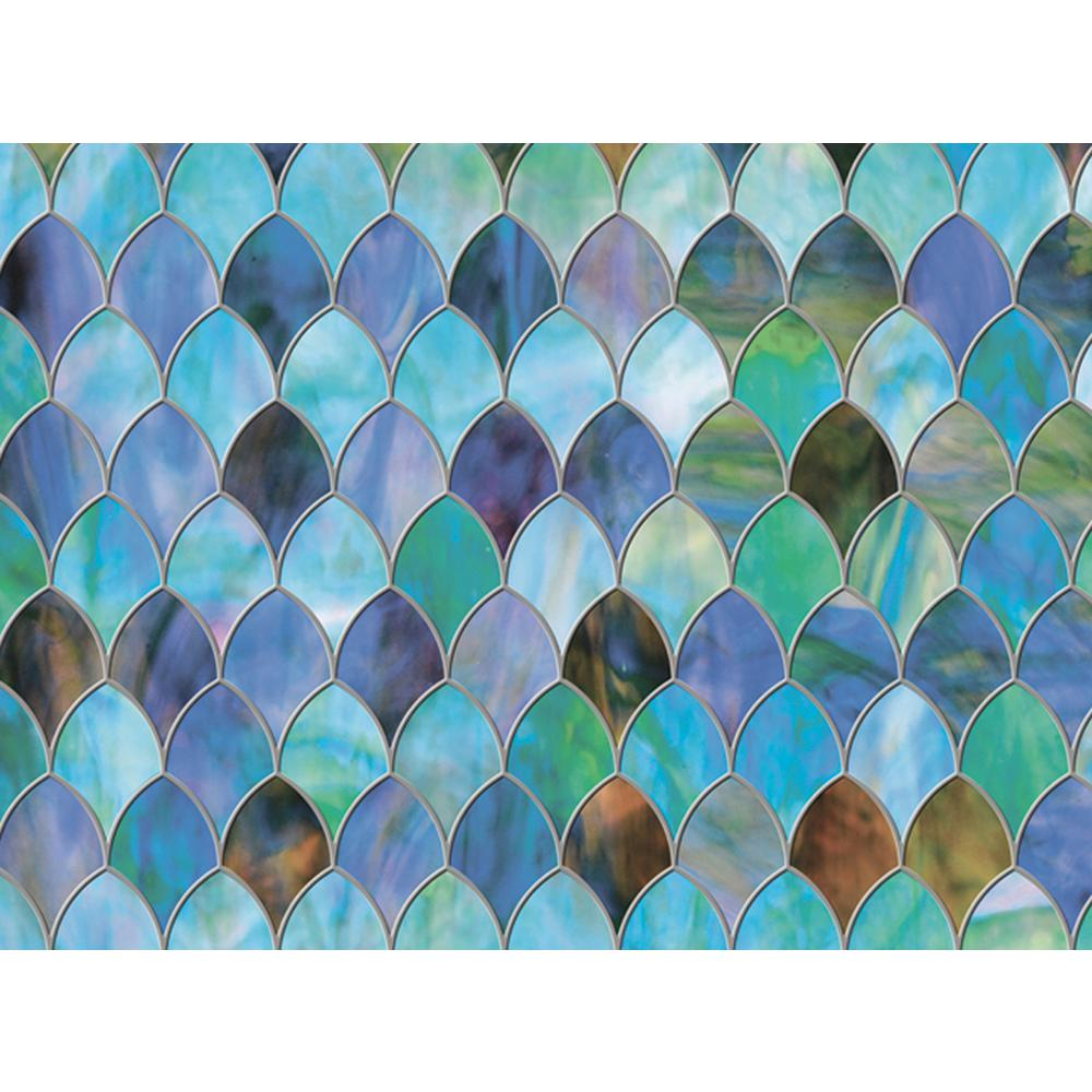 Brewster 47 in. x 24 in. Peacock Premium Window Film With a stylish design inspired by peacock feathers, this premium privacy window film creates a chic stained glass effect. Enjoy naturally refracted light through the beautiful blues, greens and purples of this authentic looking stained glass cling. The peacock privacy window film measures 24 in. wide x 47 in. long and is totally removable and reusable.