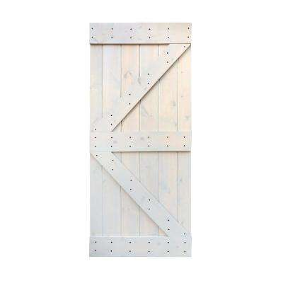 36 in. x 84 in. DIY Light Grey Knotty Pine Finished Wood Barn Door Slab