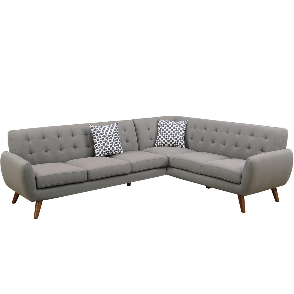 Venetian Worldwide 2 Piece Gray Polyfiber Linen Like Fabric Contemporary Sectional Sofa