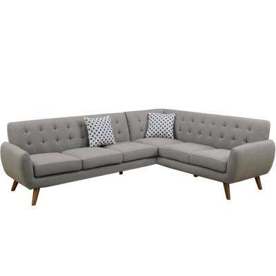 2-Piece Gray Polyfiber (Linen-Like Fabric) Contemporary Sectional Sofa