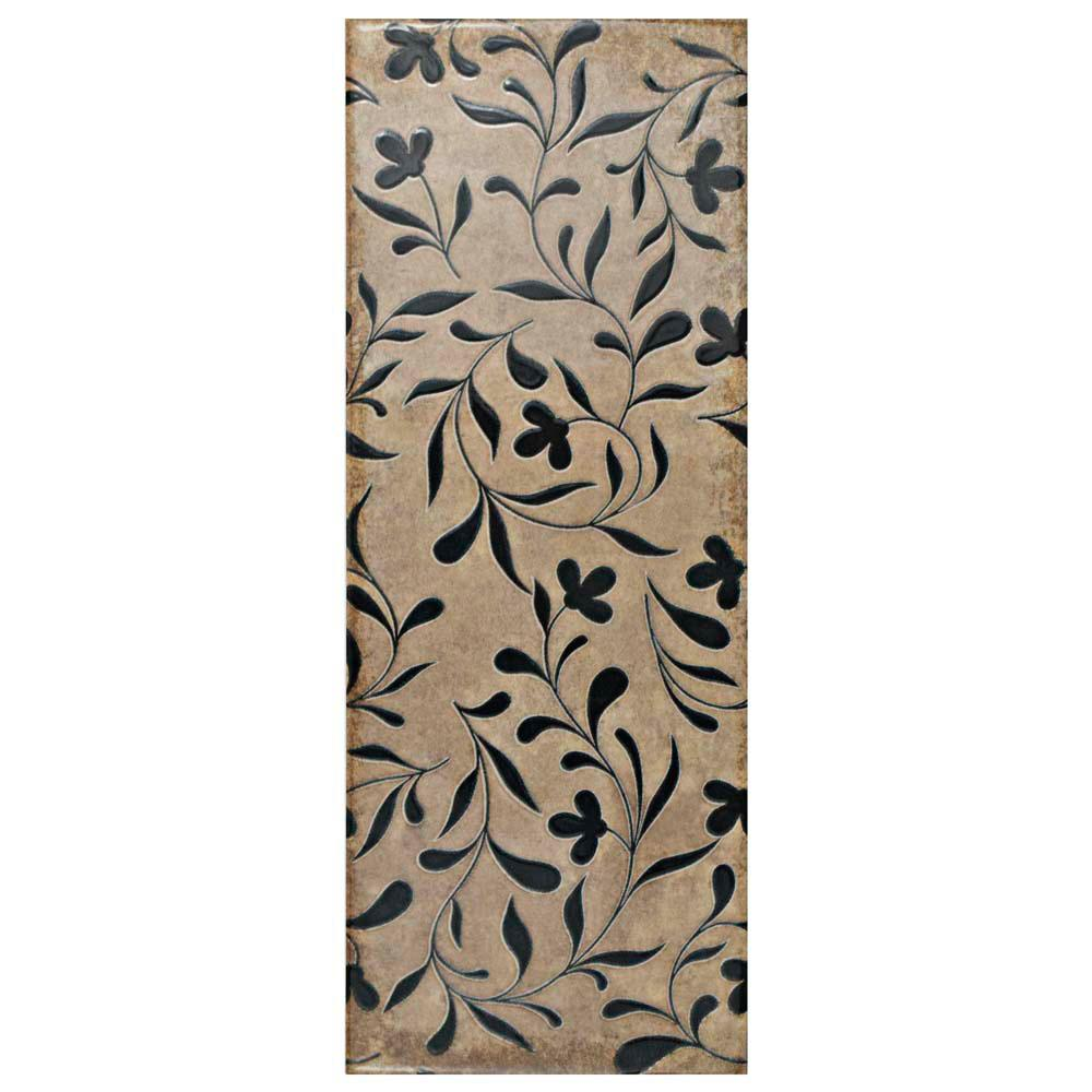 Forever Flower Cream 5-7/8 in. x 15-3/4 in. Ceramic Wall Tile