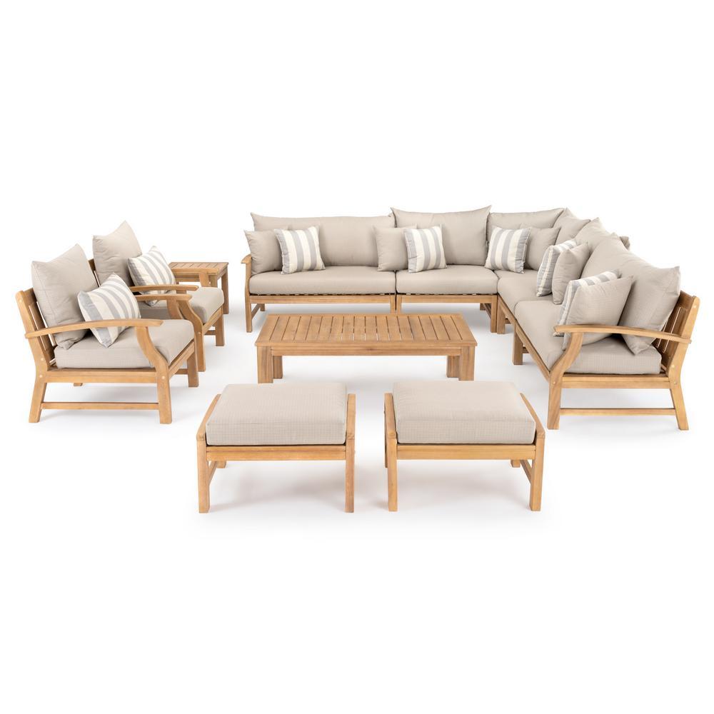 Kooper 11-Piece Wood Patio Deep Seating Conversation Set with Slate Grey Cushions