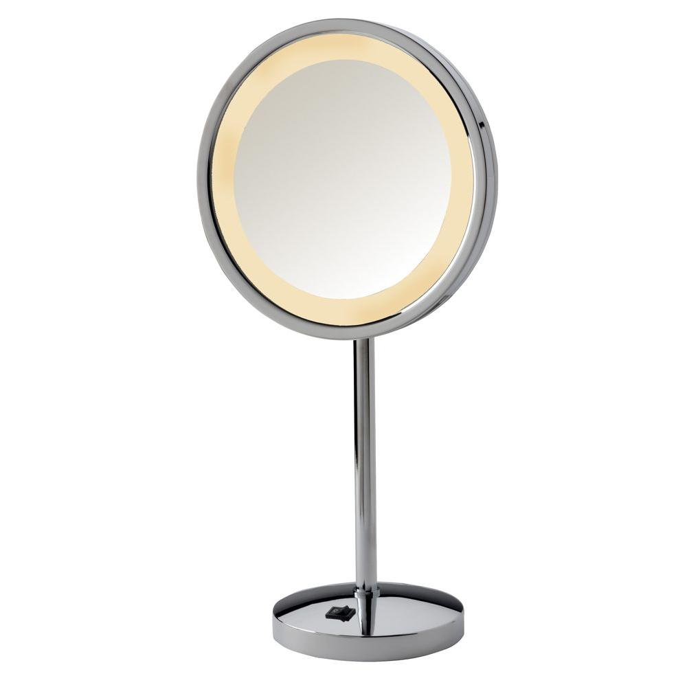 Genial LED Lighted Table Top Mirror In Chrome