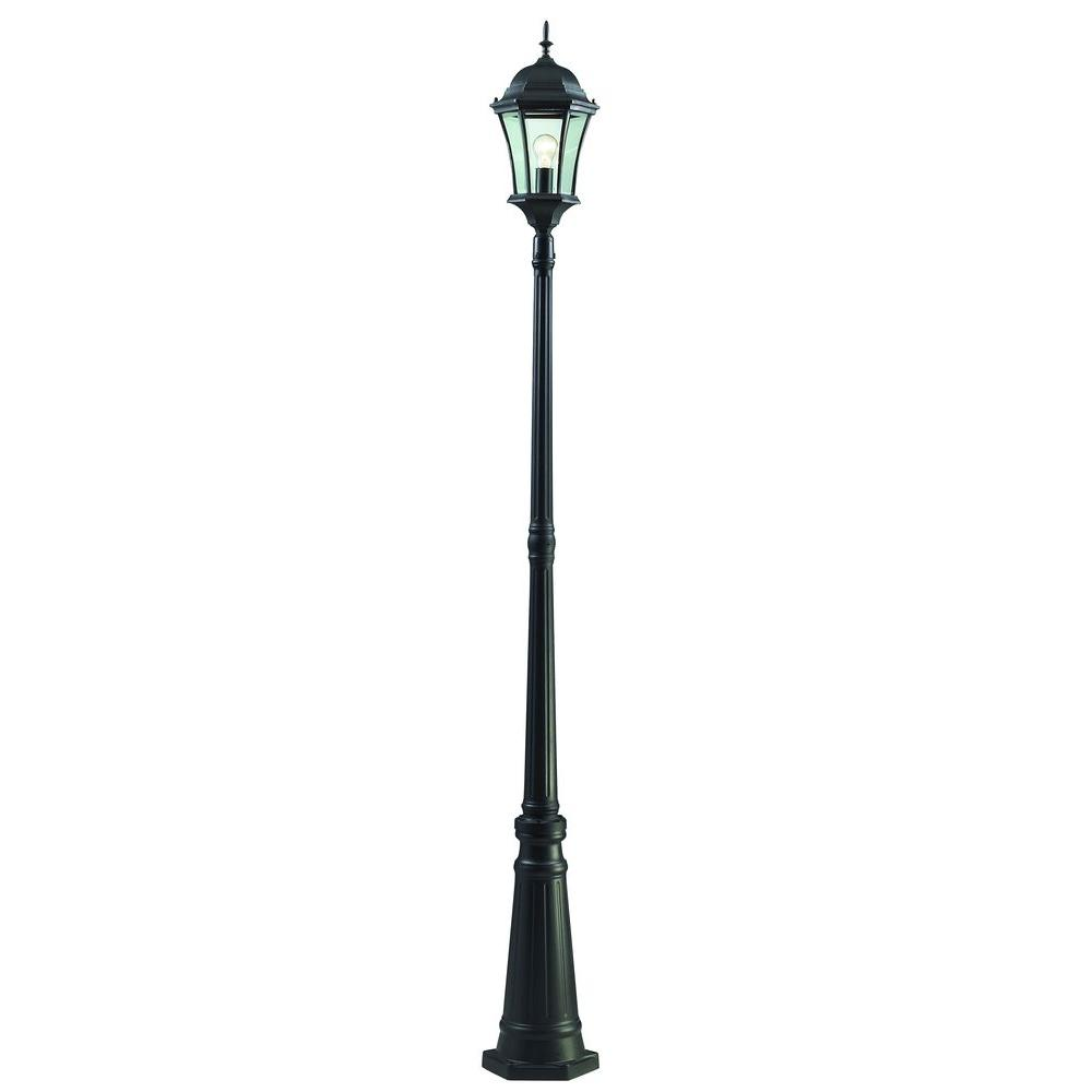 Filament Design Wakefield 1 Light Black Classic Outdoor Lamp Post With Clear Beveled Glass Shade Cli Jb522mp1 Bk The Home Depot