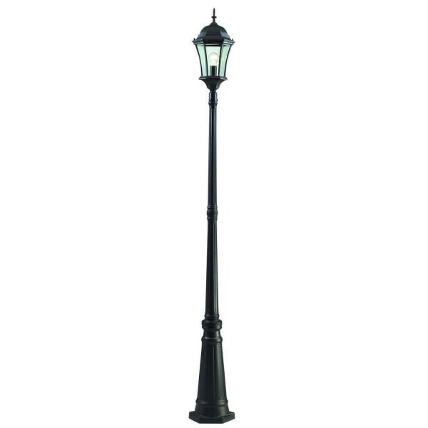 Wakefield 1-Light Black Classic Outdoor Lamp Post with Clear Beveled Glass Shade
