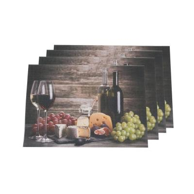 Wine and Grapes Multi-Color Textilene Placemat (Set of 4)