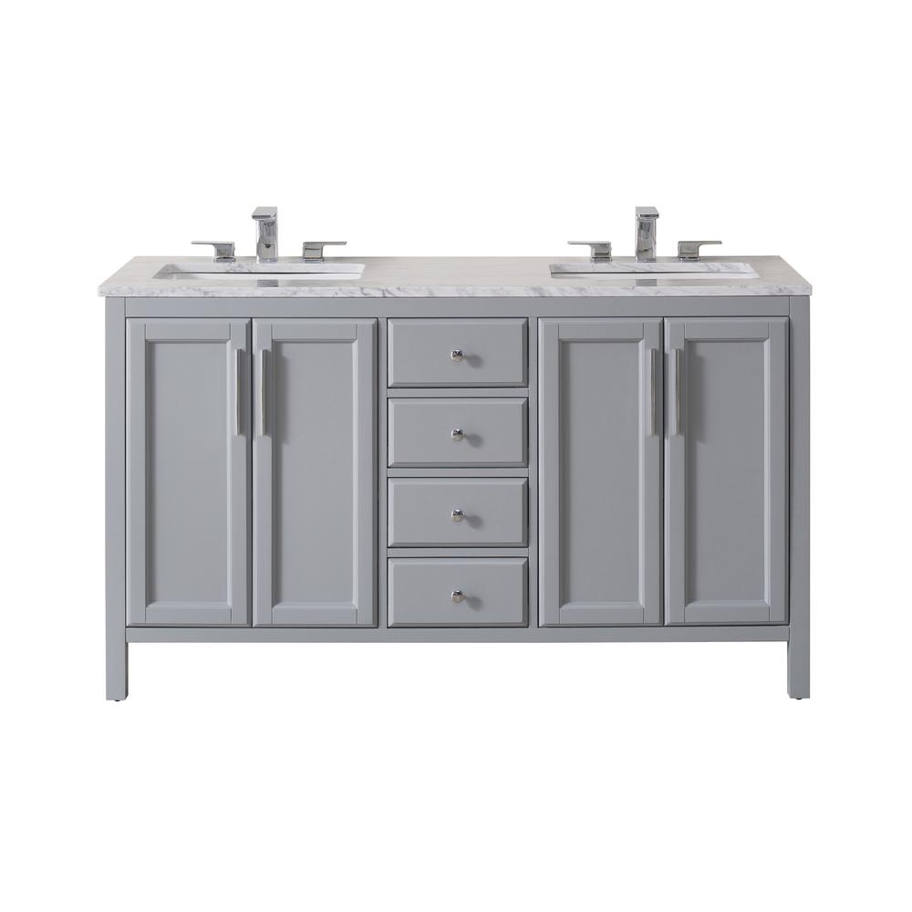 Stufurhome Wright 59 In Bath Vanity Grey With White Marble Top