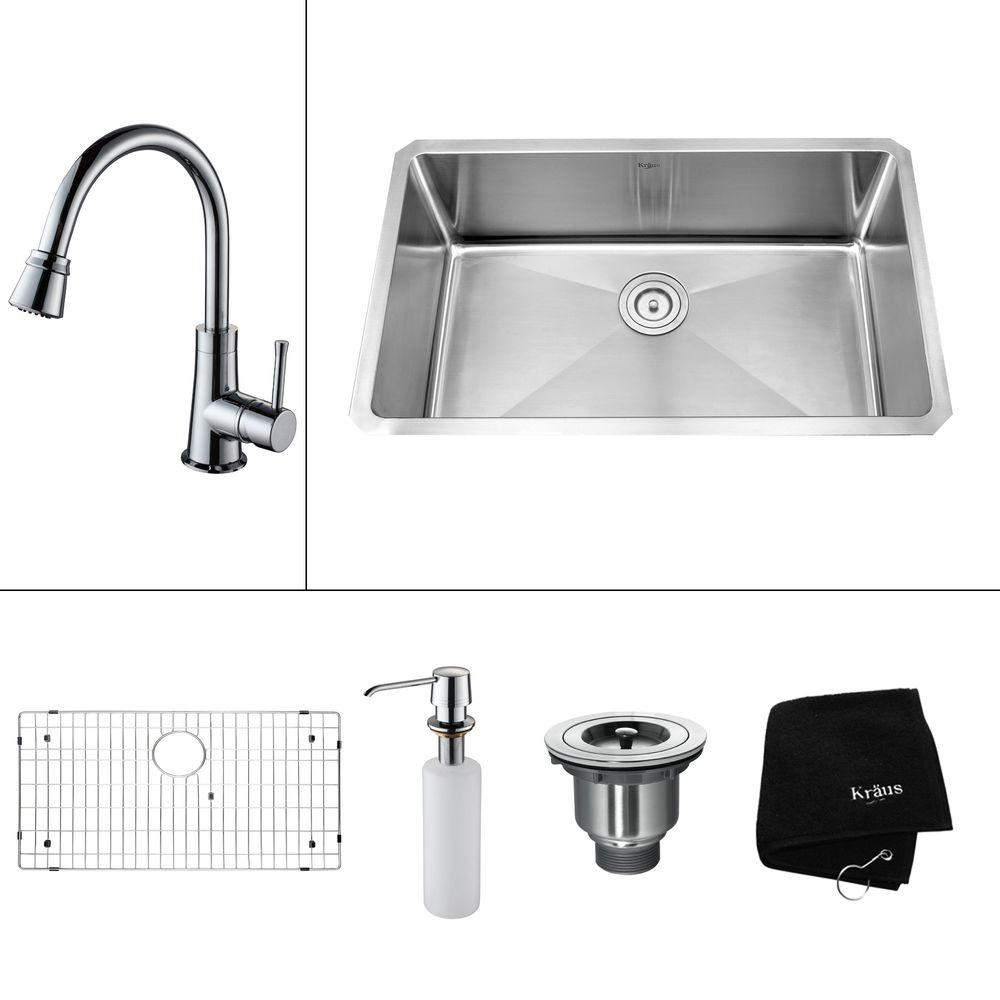 KRAUS All-in-One Undermount 30x18x14.9 0-Hole Single Bowl Kitchen Sink with Chrome Accessories