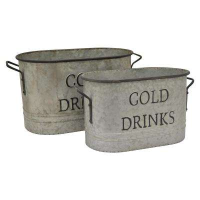 12 in. Gray Metal Bucket (Set of 2)
