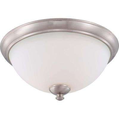 3-Light Flush Mount Brushed Nickel Fixture with Frosted Glass Shade
