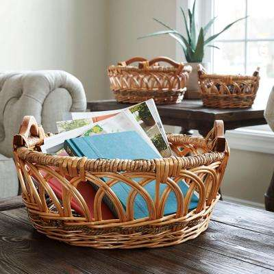 6.3 in. x 15.75 in. Round Basket Set Willow and Poplar (3-Piece)