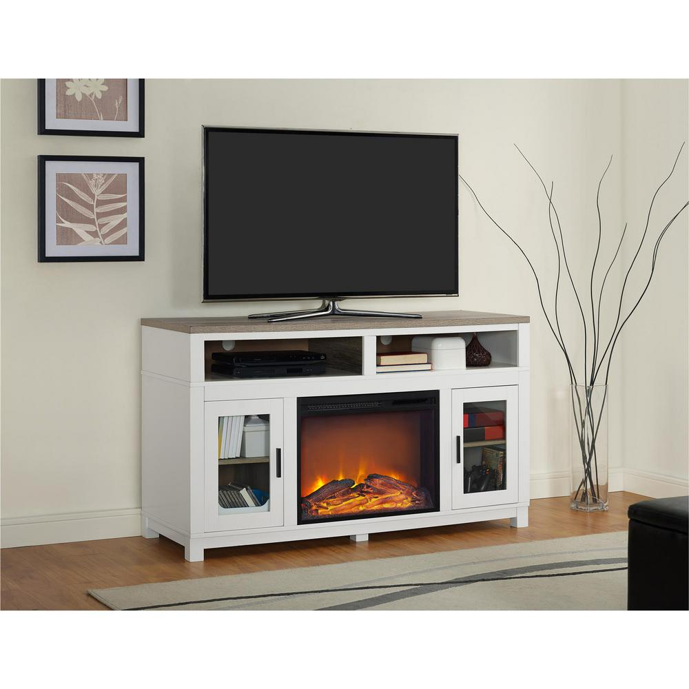 white fireplace tv stand Ameriwood Carver White Electric Fireplace 60 in. TV Stand  white fireplace tv stand
