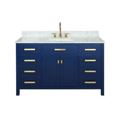 Valentino 54 in. W x 22 in. D Bath Vanity in Blue with Carrara Marble Vanity Top in White with White Basin