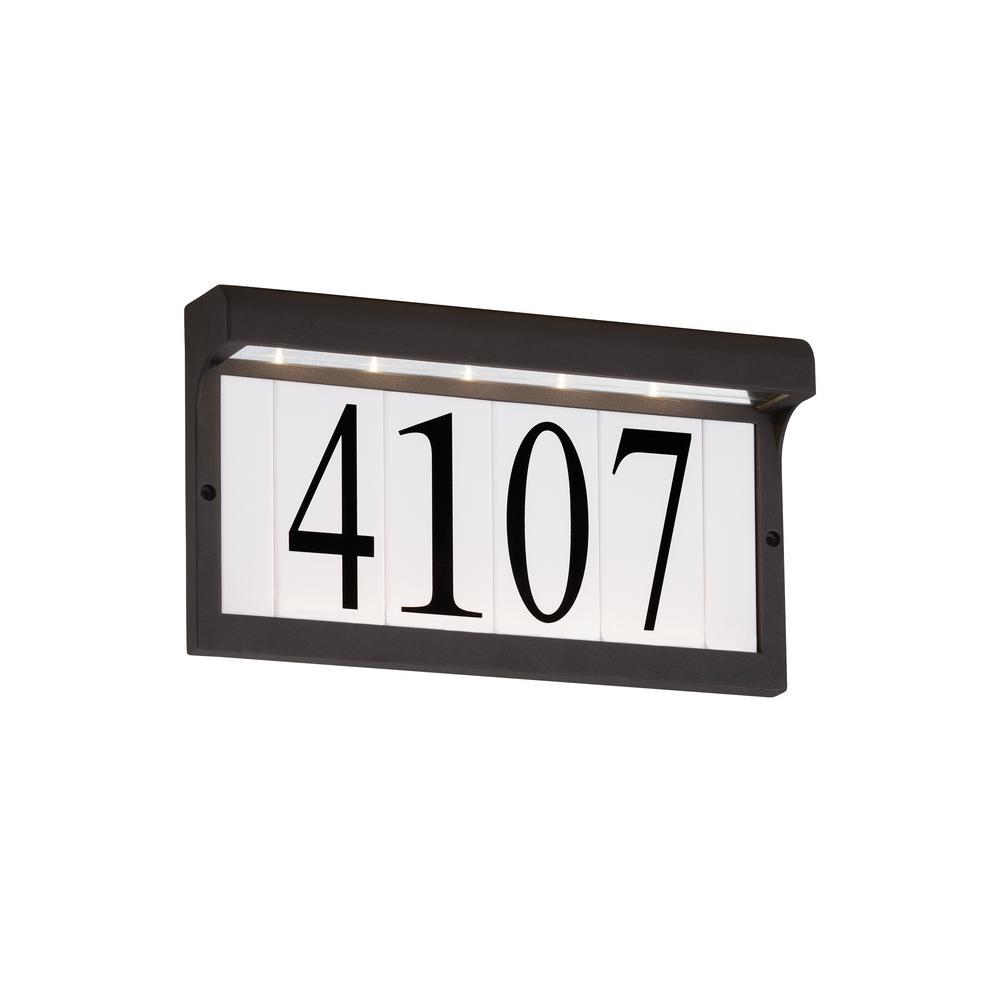 Rectangular Black Lighted LED Wall Mount Address Light