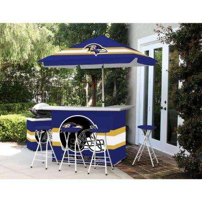Baltimore Ravens 6-Piece All-Weather Patio Bar Set with 6 ft. Umbrella