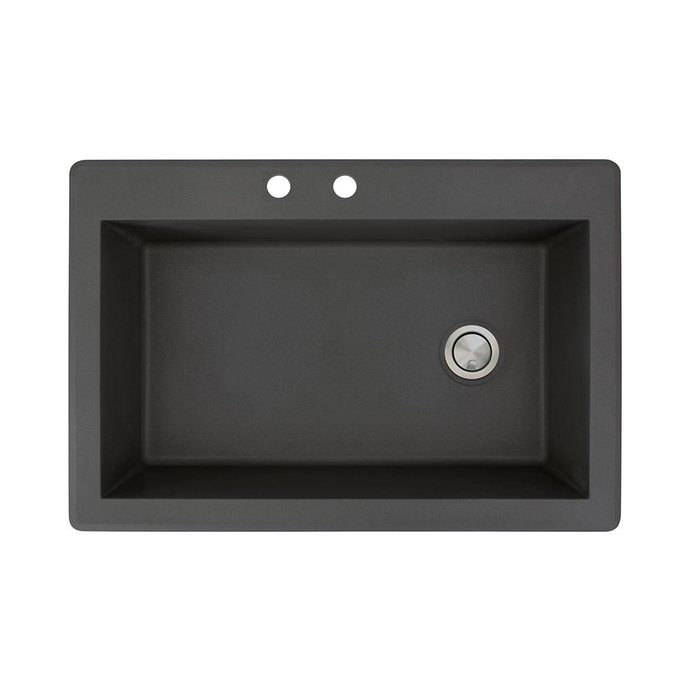 Radius Drop-in Granite 33 in. 2-Hole Single Bowl Kitchen Sink in Black