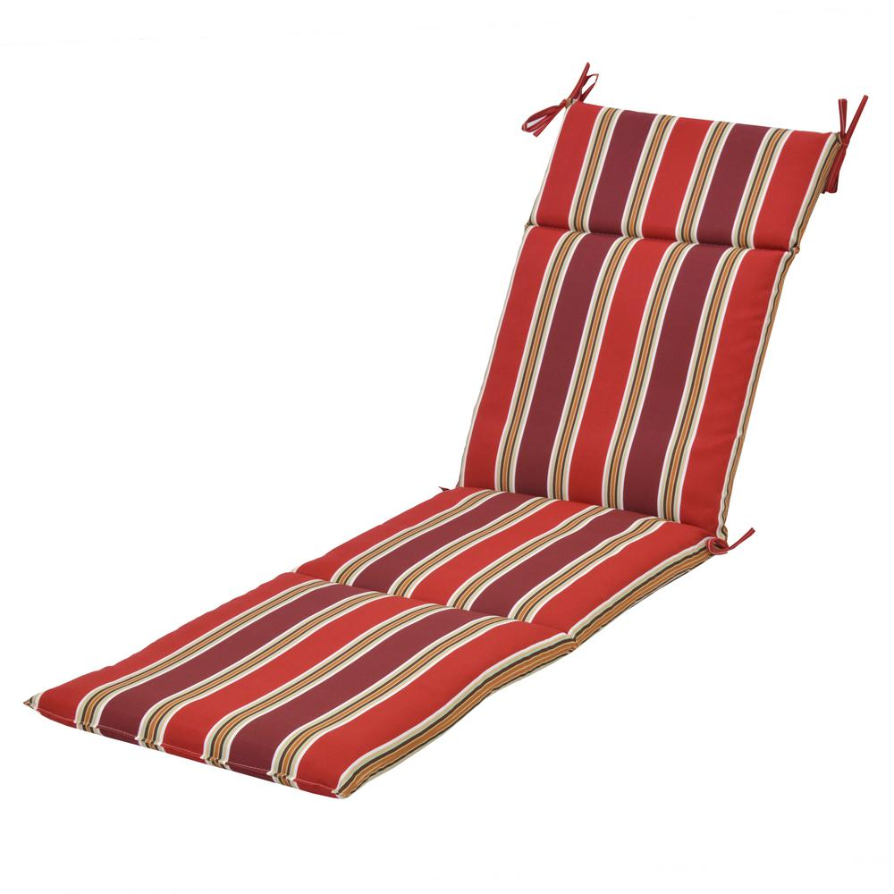 Plantation patterns llc chili stripe outdoor chaise for Black and white striped chaise lounge cushions