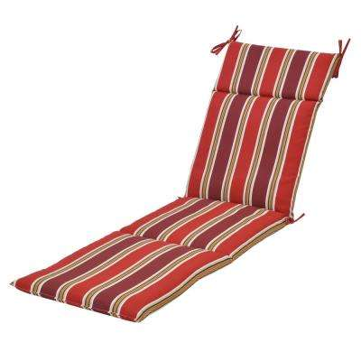 Chili Stripe Outdoor Chaise Lounge Cushion