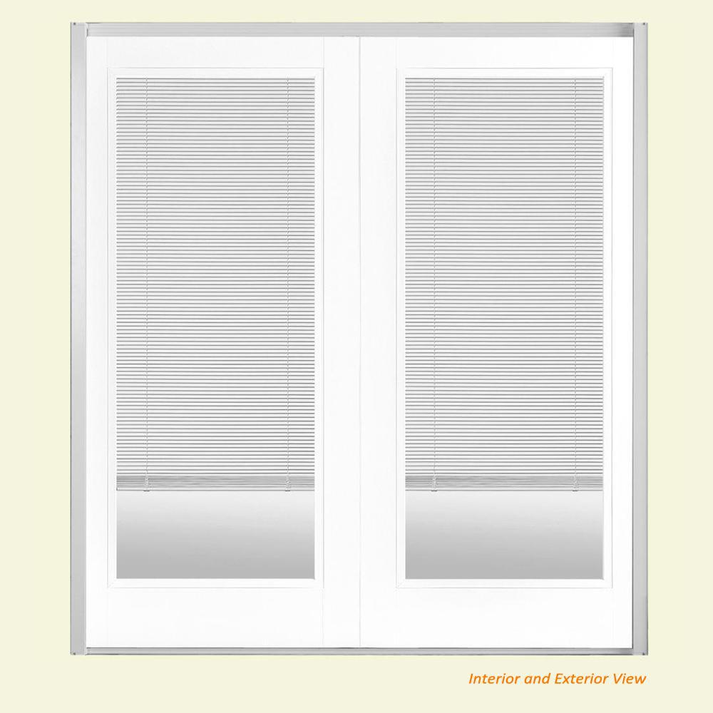 Masonite 72 in. x 80 in. Ultra White Fiberglass Prehung Right-Hand Inswing Mini Blind Patio Door w/ Brickmold, Vinyl Frame