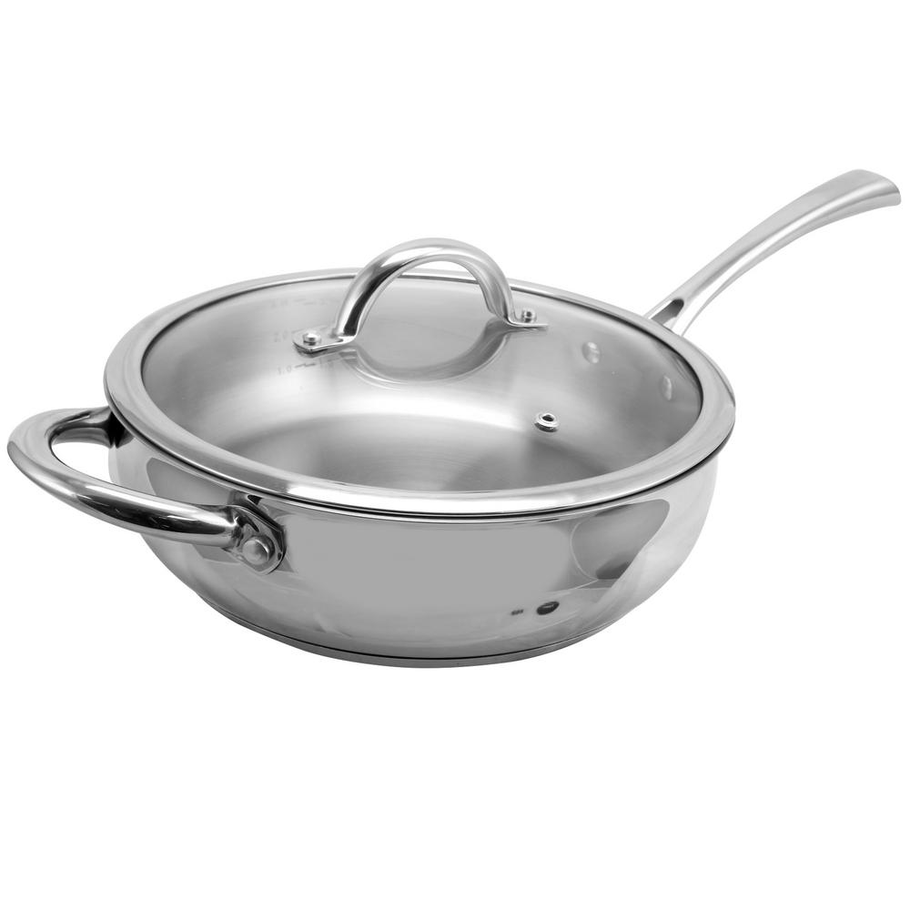 Derrick Stainless Steel Saute Pan with Lid