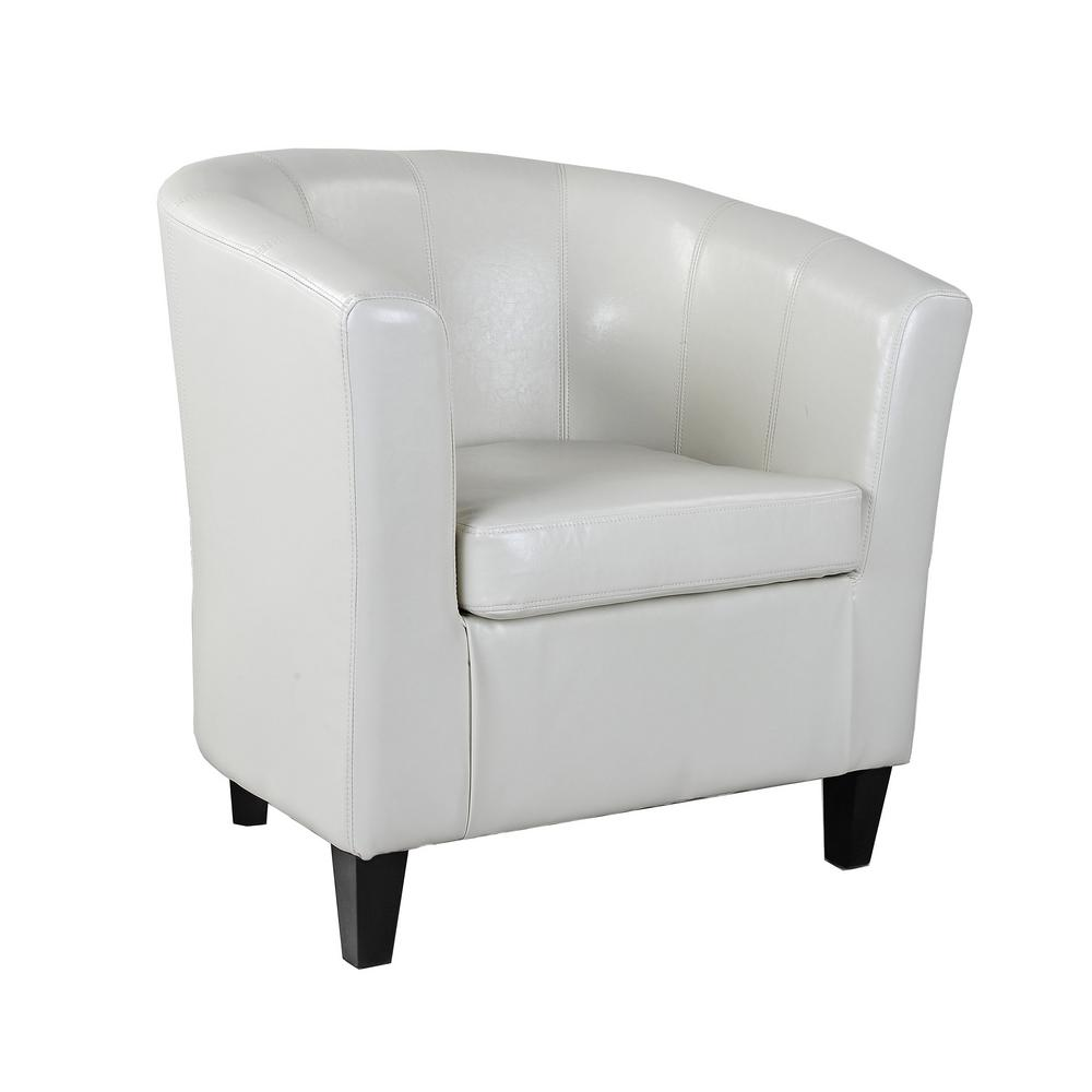Charmant CorLiving Antonio Cream White Bonded Leather Tub Chair