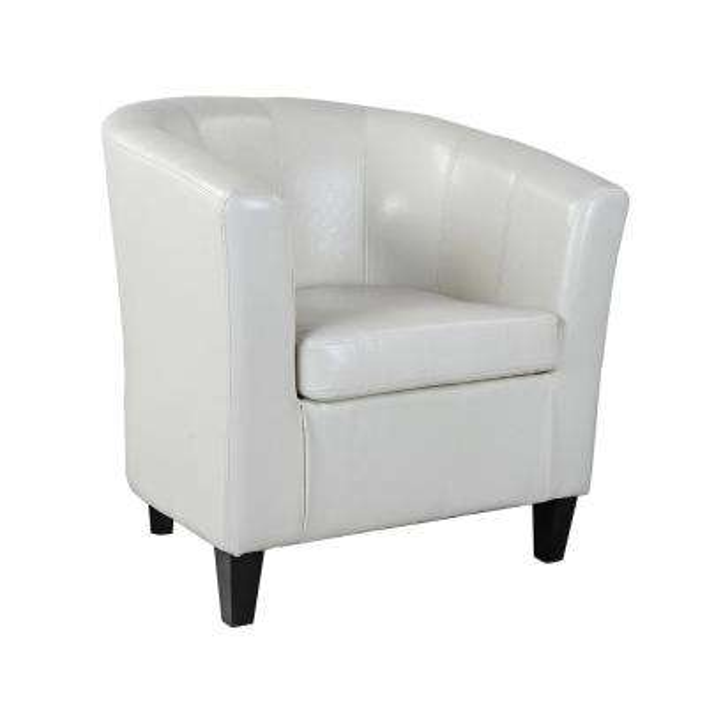 Antonio Cream White Bonded Leather Tub Chair