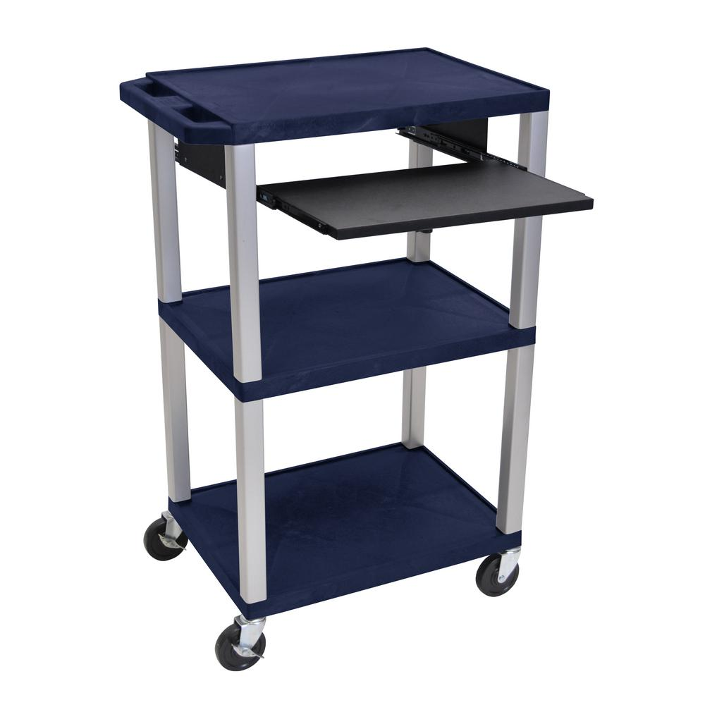 A/V 42 in. in. 3 Shelf Utility Cart with Navy Blue
