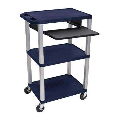 A/V 42 in. in. 3 Shelf Utility Cart with Navy Blue Shelves Nickel Legs