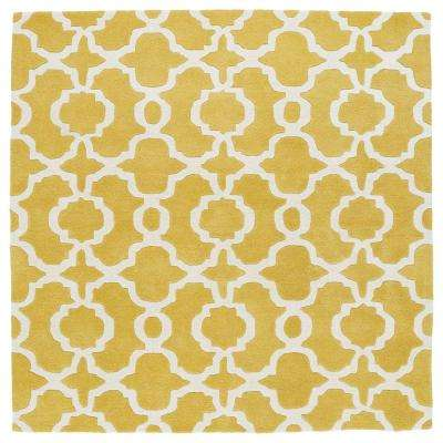 Revolution Yellow 3 ft. 9 in. x 3 ft. 9 in. Square Area Rug
