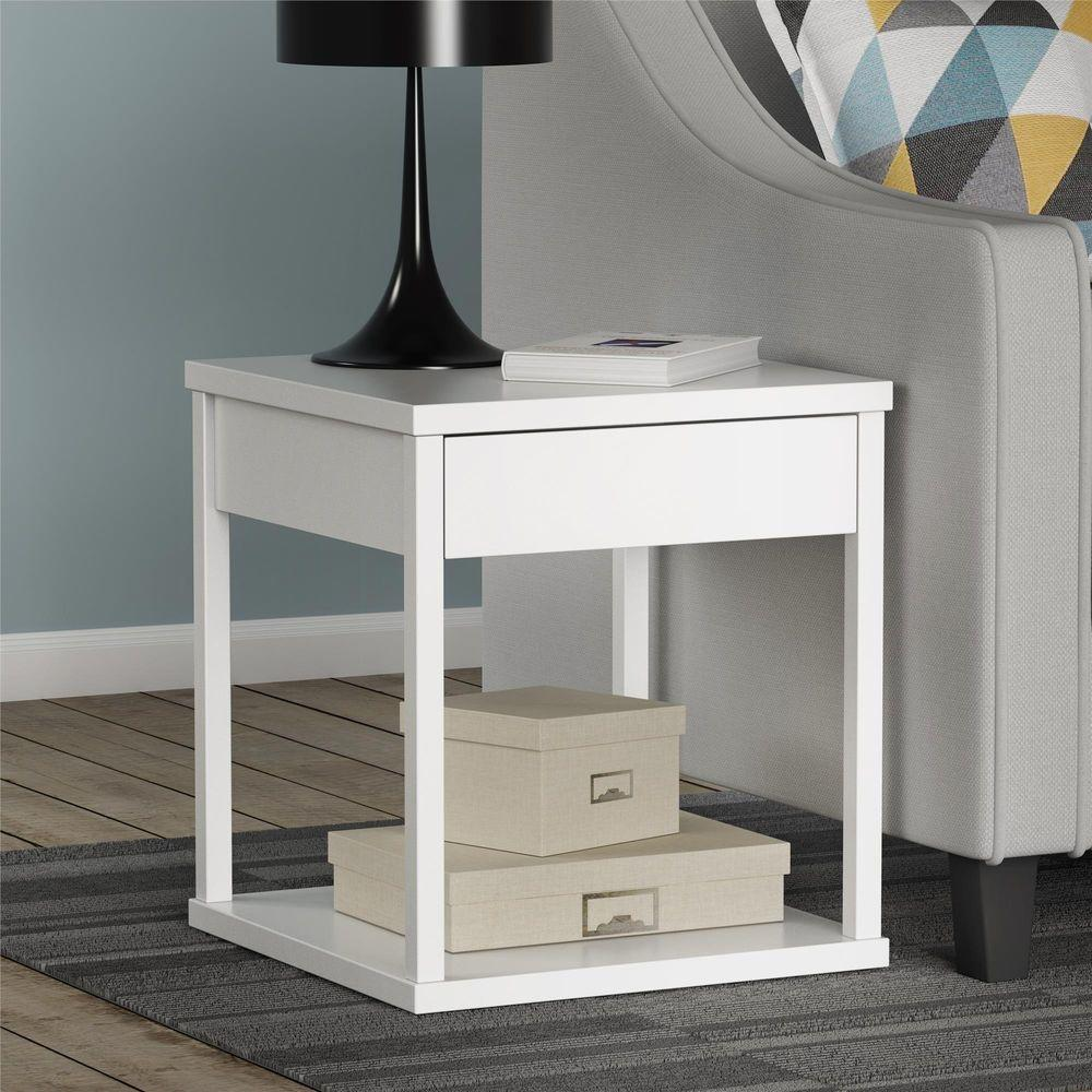 White End Table With Drawer Photos Table And Pillow Weirdmongercom