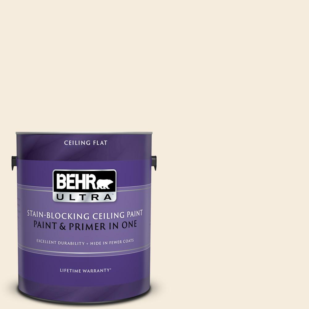 BEHR ULTRA 1 gal. #UL140-14 Heavy Cream Ceiling Flat Interior Paint and Primer in One