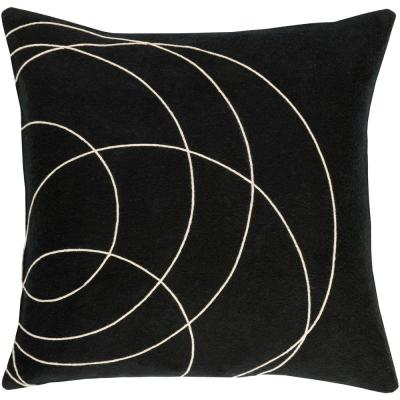 Bempton Black Geometric Polyester 22 in. x 22 in. Throw Pillow