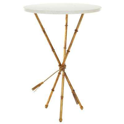 ross white and gold end table