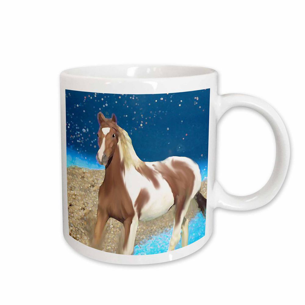 Horse 11 oz. White Ceramic Paint Horse Mug