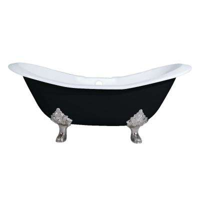 6 ft. Cast Iron Brushed Nickel Claw Foot Double Slipper Tub with 7 in. Deck Holes in Black