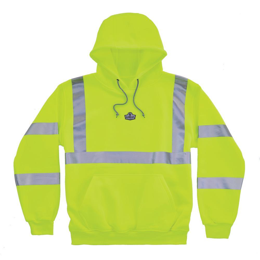 Medium Hi Vis Lime Hooded Sweatshirt