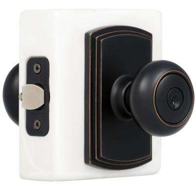 Italian Collection Santo Edged Oil-Rubbed Bronze Keyed Entry Door Knob
