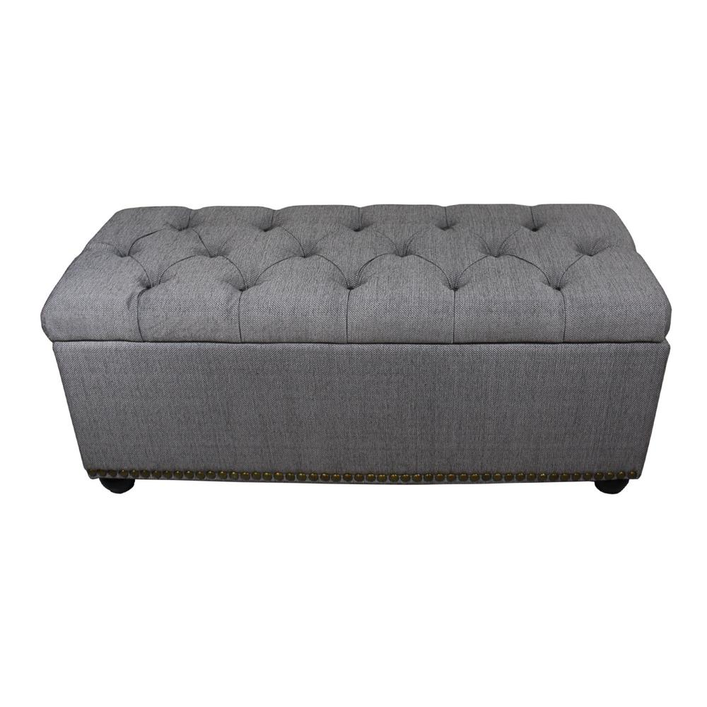 Attirant Tufted Grey Storage Bench And 3 Piece Ottoman Seating