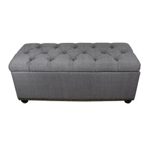 18 inch Tufted Grey Storage Bench and 3-Piece Ottoman Seating by