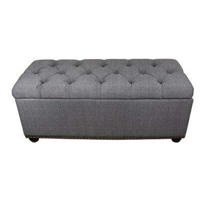Tufted Grey Storage Bench And 3 Piece Ottoman Seating