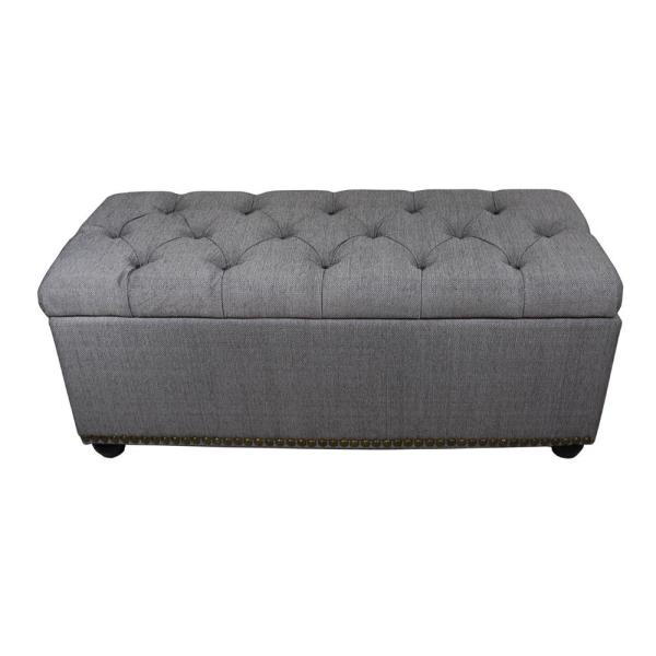 Remarkable 18 In Tufted Grey Storage Bench And 3 Piece Ottoman Seating Ncnpc Chair Design For Home Ncnpcorg