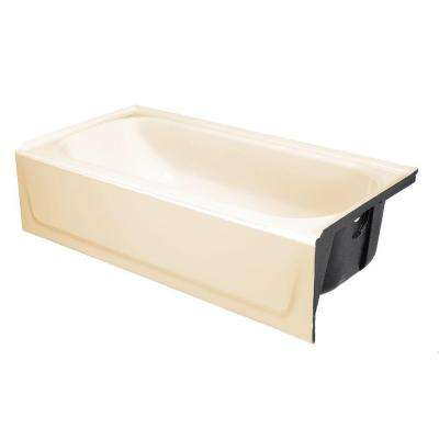 Mauicast 60 in. Right Drain Rectangular Alcove Soaking Bathtub in Bone