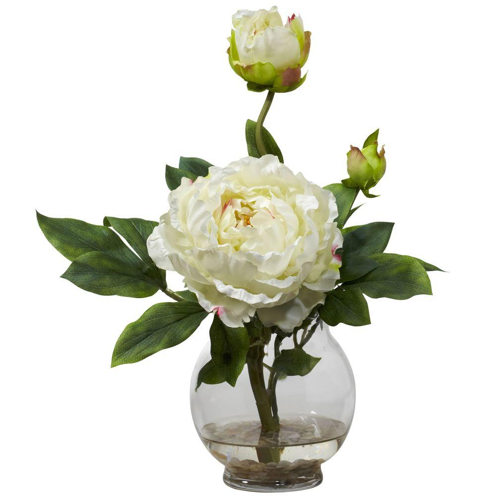 Null 135 In H White Peony With Fluted Vase Silk Flower Arrangement