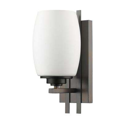 Sophia 1-Light Oil-Rubbed Bronze Sconce with Frosted Glass Shade