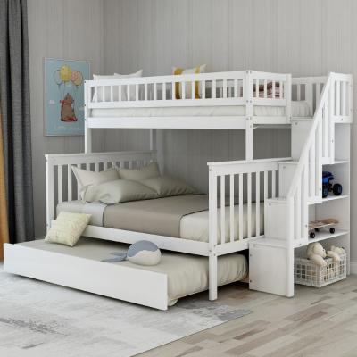 White Twin Over Full Stairway Bunk Bed with Trundle
