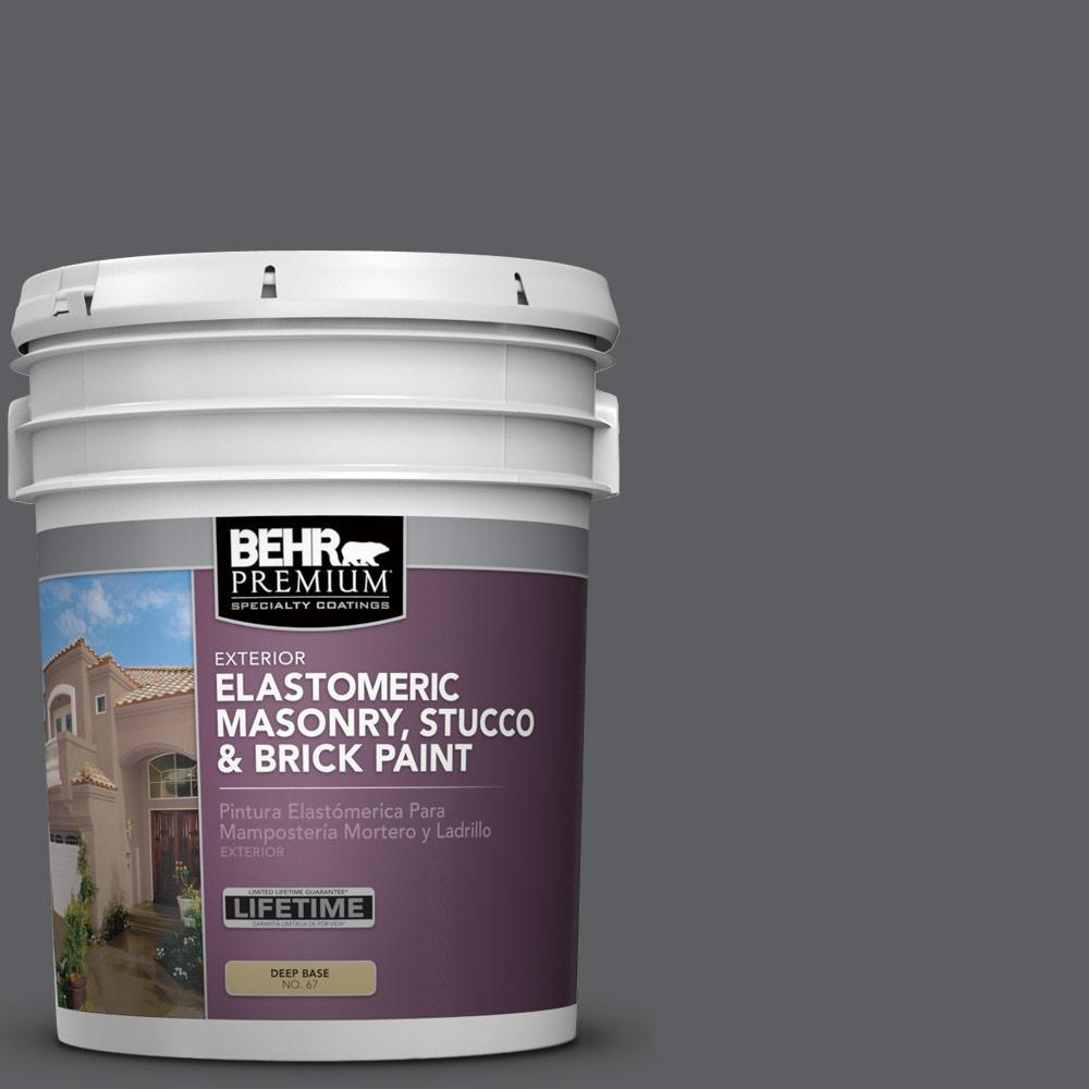 BEHR PREMIUM 5 Gal. #N500-6 Graphic Charcoal Elastomeric Masonry, Stucco and Brick Exterior Paint
