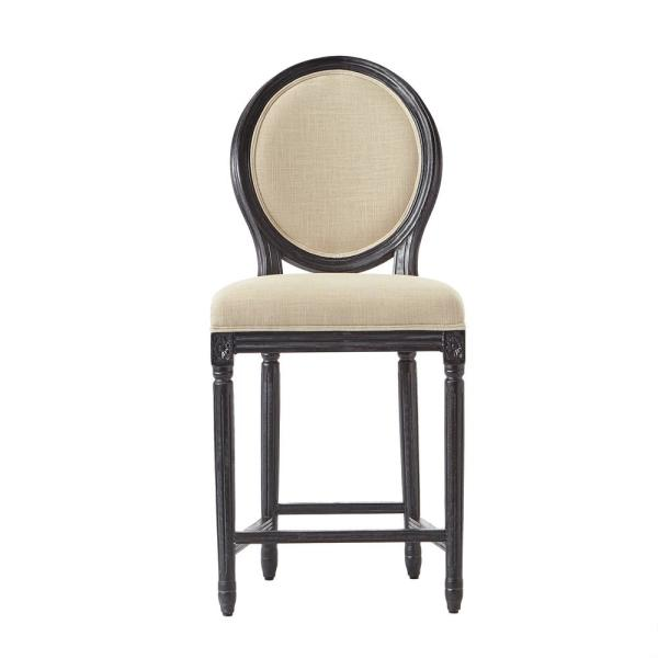 Jacques 26.5 in. Natural Cushioned Counter Stool in Antique Black with Oval Back