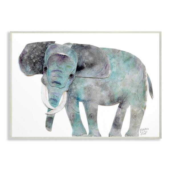 10 in. x 15 in. ''Watercolor Cutout Collage Elephant'' by Marley Ungaro Printed Wood Wall Art