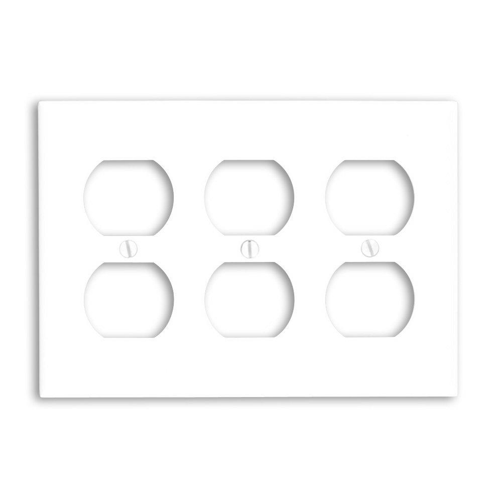 Leviton White 3-Gang Duplex Outlet Wall Plate (1-Pack)